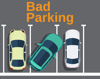 Bad parking. Cars top view. Royalty Free Stock Images
