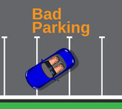Bad parking. Cars top view. Royalty Free Stock Image
