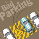 Bad parking. Illustration of a car parked in the wrong parking for disabled Royalty Free Stock Photography