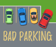 Bad parking. Top view of a car parked. On the lawn. Flat style color vector illustration for web design or print Royalty Free Stock Photography