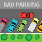 Bad Parking Top View Stock Images