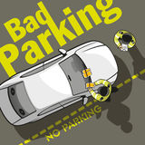 Bad parking. Two police officers discharged a parking fine to the owner of the car and stick a ticket on the windshield stock illustration
