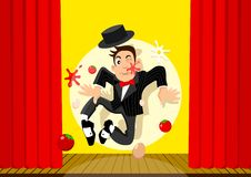 Bad Performance. Cartoon illustration of an entertainer who give bad performances Stock Photos
