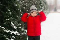 Bad photo. The boy blinked. Bad winter photo stock images