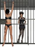 Bad police girl with prisoner Stock Photos