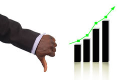 Bad Prediction. This is an image of a business hand representing a Bad Prediction.This is indicated by the thumb down gesture and the rise in the graph Stock Images