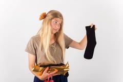 Bad present, unhappy girl Stock Photography
