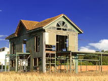 A bad project. Unfinished house made with metal plates Stock Photography