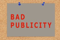 BAD PUBLICITY concept. 3D illustration of BAD PUBLICITY on cork board Royalty Free Stock Photography