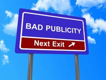 Bad publicity next exit sign Royalty Free Stock Photos