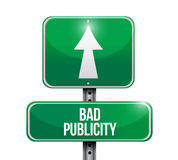 Bad publicity street road sign concept. Illustration design isolated over white Royalty Free Stock Photos