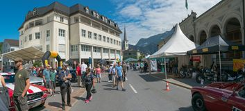 Bad Ragaz, SG / Switzerland - 23 June, 2019: racers and guests enjoy the oldtimer car exhibition and race competions at the ninth