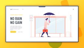 Free Bad Rainy Weather In City Website Landing Page. Young Business Man City Dweller With Umbrella And Briefcase Stock Images - 162929444