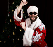 Bad rastoman Santa Claus smiles and fun dancing on the background of Christmas tree royalty free stock photography