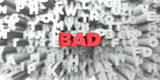 BAD -  Red text on typography background - 3D rendered royalty free stock image. This image can be used for an online website banner ad or a print postcard Royalty Free Stock Photos