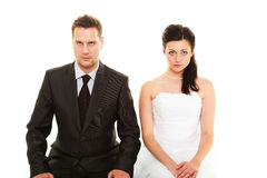 Bad relationship concept. Married couple problem, indifference, depression and discord. Man women in disagreement isolated on white royalty free stock images