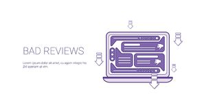 Bad Reviews Negative Feedback Template Web Banner With Copy Space. Vector Illustration royalty free illustration