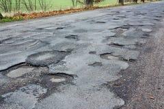 Bad road asphalt Stock Images