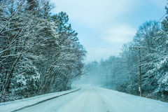 Bad road conditions while driving in winter Stock Photo