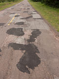 Bad Road pavement Portrait view Royalty Free Stock Images