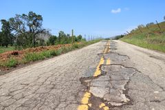 Bad road in USA Royalty Free Stock Photography
