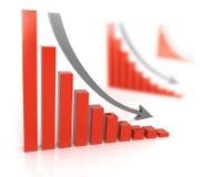 Bad sales . Arrow falling downward Stock Photo