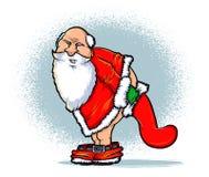 Bad Santa. Santa and the Naughty List Cartoon. Christmas card illustration of Santa bent over a stocking Royalty Free Stock Images