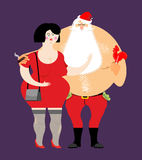 Bad Santa with beer and cigar. Royalty Free Stock Photos