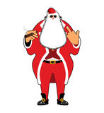 Bad Santa with cigar and fuck. Angry drunk Claus. Harmful Christ Royalty Free Stock Photos