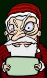 Bad Santa Claus. Angry Santa Claus holding a blank sign Stock Photo