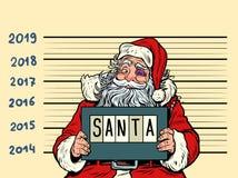 Bad Santa Claus. Arrested 2019 happy new year. Comic cartoon pop art retro vector illustration drawing stock illustration