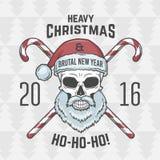 Bad Santa Claus biker with candies print design Royalty Free Stock Image