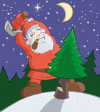 Bad Santa Claus is cutting of a fur-tree with axe Royalty Free Stock Photography