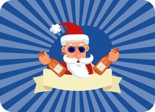 Bad Santa Claus with two bottles of booze and blank ribbon. On a blue background with rays Stock Photo