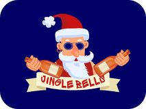 Bad Santa Claus with two bottles of booze and ribbon Jingle Bells. On a blue background Stock Photography