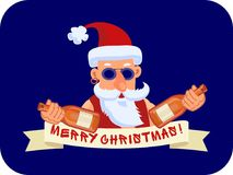Bad Santa Claus with two bottles of booze and ribbon Marry Christmas. On a blue background Royalty Free Stock Image