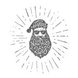 Bad Santa in glasses with typography Happy New Year 2018 on hat and beard. Vector illustration in retro style on white. Background Royalty Free Stock Photography