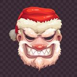 Bad Santa mask on transparent background. Scary Santa Claus face icon. Vector Christmas or Helloween costume element Royalty Free Stock Images