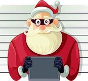 Bad Santa Police Mugshot Vector Cartoon. Arrested Masked Santa Man Going To Jail vector illustration