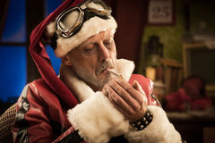 Bad Santa smoking a joint Royalty Free Stock Photo