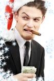 Bad santa with snowflakes Royalty Free Stock Images