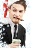 Bad santa with snowflakes Royalty Free Stock Photos