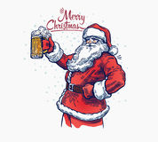 Bad Santaa. Jolly Santa Claus with a beer in hand Royalty Free Stock Photo