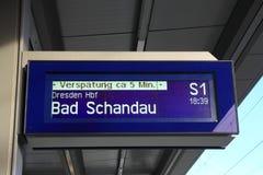 Bad Schandau on the platform screen. In Dresden stock photos