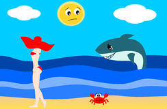 The bad shark and the beautiful lady on the beach Royalty Free Stock Image