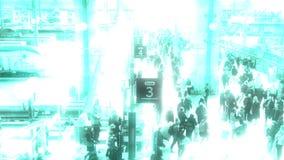 Bad signal digital big brother glitch effect. PARIS, FRANCE - CIRCA 2019: Bad digital surveillance camera signal over busy morning on the platform 3 at Gare de stock illustration