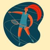 BAD SIM WOMAN. Female rocket sport. The girl plays badminton. Womens badminton team. Sportswoman in modern flat design in retro colors vector illustration