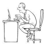 Bad sitting posture as the reason for office syndrome. Hand drawn EPS10 vector illustration Royalty Free Stock Images
