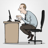 Bad sitting posture as the reason for office syndrome. Hand drawn EPS10 vector illustration Stock Photo