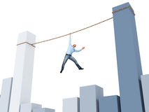 Bad situation. Man on rope and 3d financial chart Royalty Free Stock Images